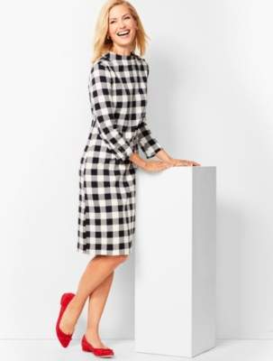 Talbots Mockneck Cotton Knit Shift Dress