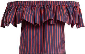 Riviera LA DOUBLE J striped cotton cropped top