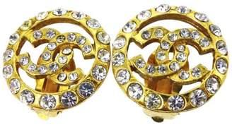Chanel Gold Tone Hardware & Rhinestones Coco Mark Earrings