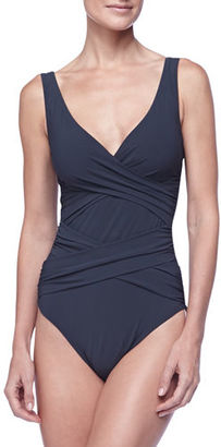Karla Colletto Criss-Cross One-Piece Swimsuit $306 thestylecure.com