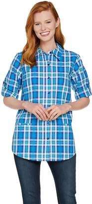 Joan Rivers Classics Collection Joan Rivers Plaid Seersucker Boyfriend Shirt