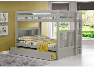 Camaflexi Full over Full Bunk Bed with Twin Trundle - Mission Headboard - Bed End Ladder - Cappuccino Finish