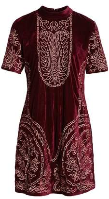 Kas Lily Embroidered Velvet Shift Dress