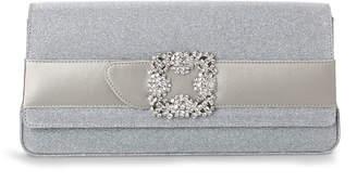 Manolo Blahnik Gothisi silver glitter clutch