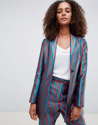 Asos DESIGN tailored longline stripe jacquard blazer