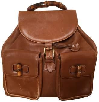 ae539522e1f693 Gucci Bamboo Camel Leather Backpacks