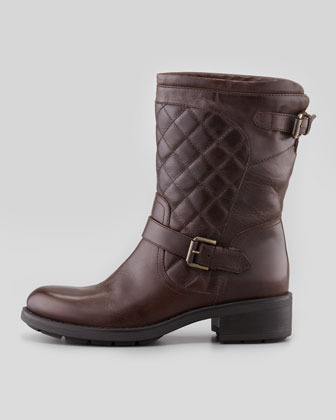Aquatalia by Marvin K Sweetness Short Quilted Moto Boot, Espresso