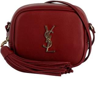 Saint Laurent Burgundy Leather Shoulder Bag