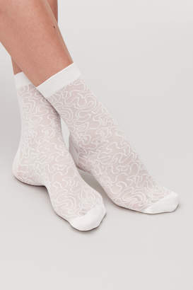 Cos EMBROIDERED SHEER ANKLE SOCKS