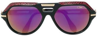 Cazal leather detail oversize sunglasses