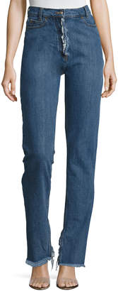 Magda Butrym Summersville High-Waist Flare-Cuff Jeans with Frayed Trim, Blue