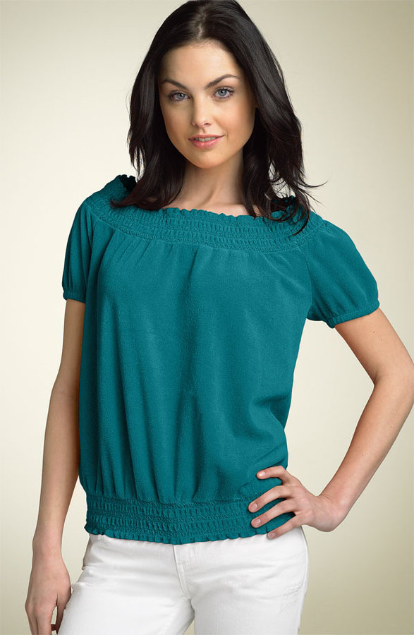 Juicy Couture Smocked Terry Peasant Top