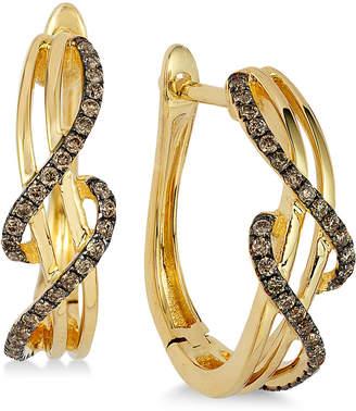 LeVian Le Vian Chocolatier Wavy Diamond Hoop Earrings (1/4 ct. t.w.) in 14k Gold