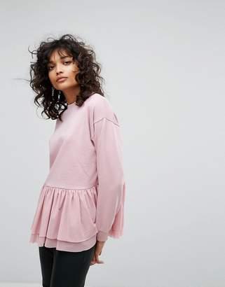 Asos Sweatshirt With Mesh Frill Hem