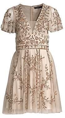 Aidan Mattox Women's Beaded A-Line Dress
