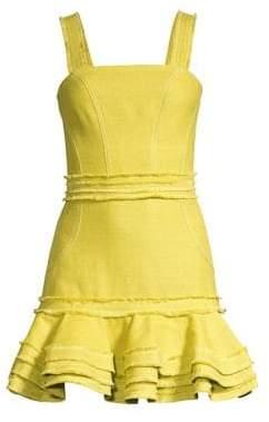 Alexis Judith Linen& Cotton Ruffled Mini Dress