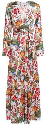 Leone We Are Belted Floral-print Silk-satin Robe
