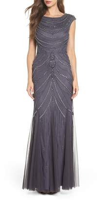 Adrianna Papell Beaded Trumpet Gown
