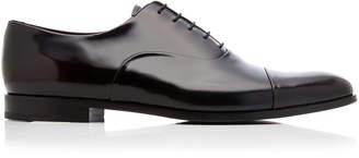 Prada Spazzolato Fume Two-Tone Patent-Leather Dress Shoes Size: 8