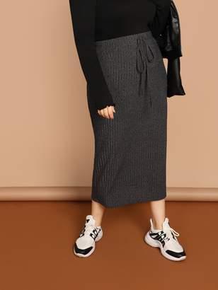 Shein Plus Drawstring Waist Rib Knit Skirt