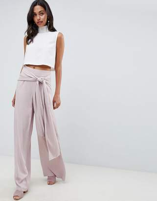Asos DESIGN Occasion Oversized Tie Front Wide Leg Pants