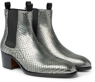 Tom Ford Python Chelsea Boots - Silver