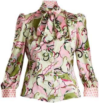 EDELTRUD HOFMANN Pussy-bow floral-print silk-satin blouse