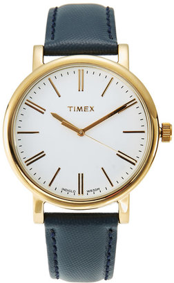timex TW2P63400 Gold-Tone & Navy Watch $75 thestylecure.com
