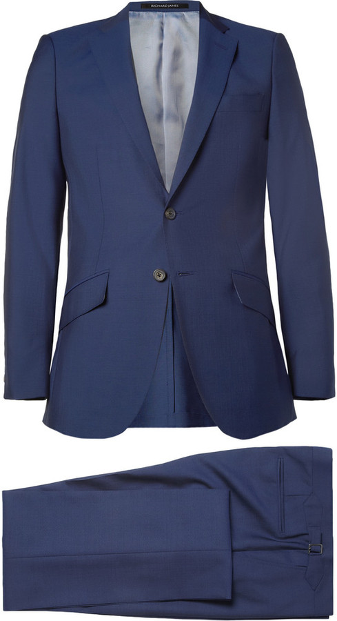 Richard James Blue Wool and Mohair-Blend Suit