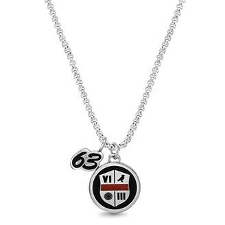 "Ben Sherman Men's 63"" Circle and Roman Numeral Shield Duo Pendant Necklace on Rolo Chain in Stainless Steel"
