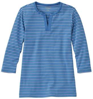 L.L. Bean Women's L.L.Bean Tee, Three-Quarter-Sleeve Splitneck Tunic Stripe