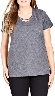 City Chic Detail V-Neck Tee