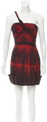 BCBGMAXAZRIA One-Shoulder Printed Dress