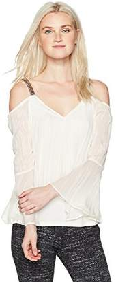 Amy Byer A. Byer Bell Sleeve Cold Shoulder Split Front Top (Junior's)