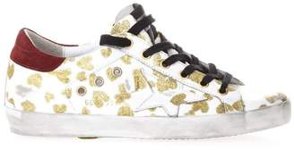 Golden Goose White Sneakers With Gold Hearts All Over Print