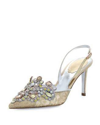 Rene Caovilla Jeweled Lace & Snakeskin Slingback 75mm Pump, Gold $1,125 thestylecure.com