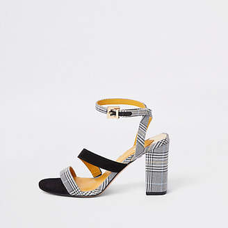 River Island Grey check strappy asymmetric sandals