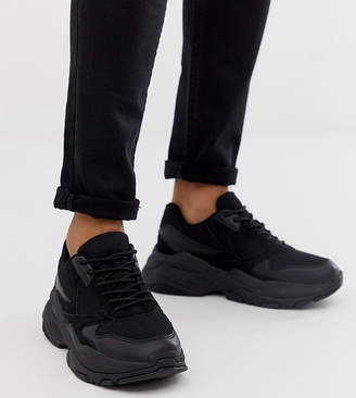 Asos Design DESIGN Wide Fit sneakers in black mix with chunky sole