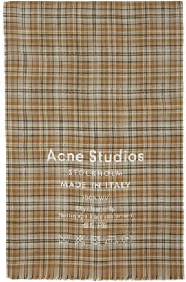 Acne Studios Beige and Brown Check Cassiar Scarf