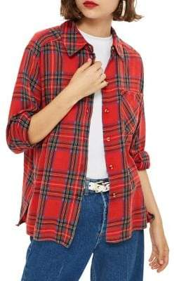 Topshop Washed Check Button-Down Shirt