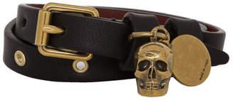 Alexander McQueen Black and Gold Wrap Eyelet Skull Bracelet