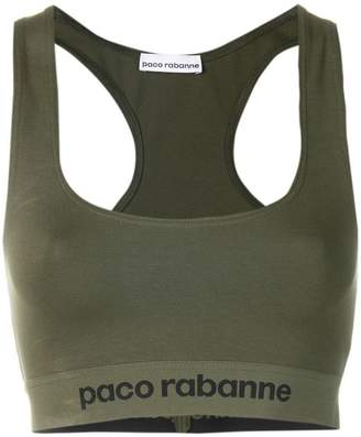 Paco Rabanne logo racer back cropped top