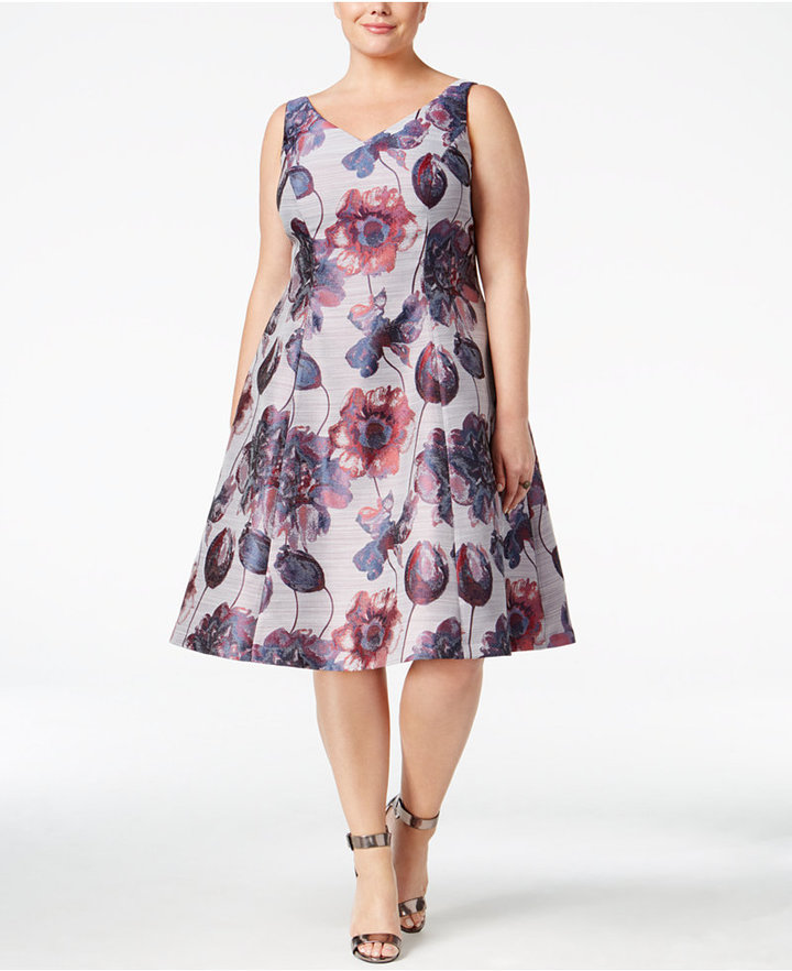 Adrianna PapellAdrianna Papell Plus Size Floral-Print Fit & Flare Dress