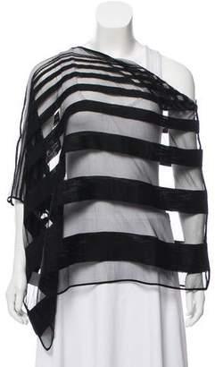 Maison Margiela One-Shoulder Striped Poncho