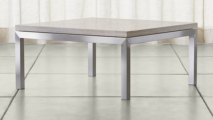 Crate & BarrelParsons Square Stainless Steel Coffee Table with Travertine Top