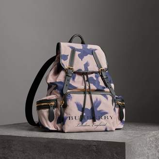 Burberry The Large Rucksack in Bird Print Canvas and Leather