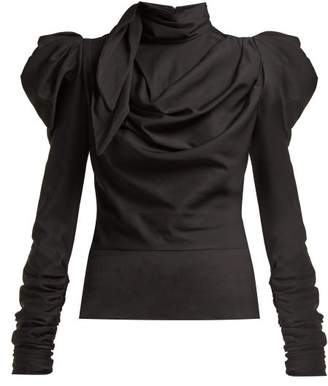 Zimmermann Fleeting Tie Neck Silk Blend Blouse - Womens - Black