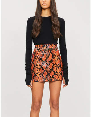 Jaded London Snakeskin-print PVC skirt