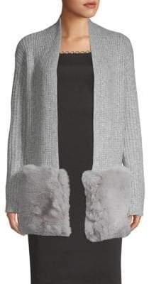Saks Fifth Avenue Faux Fur Pocket Cardigan