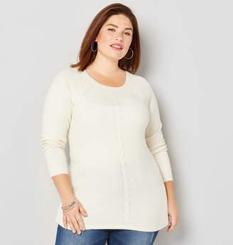 Avenue Crewneck Cable Pullover Sweater